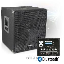 15 Bi-Amplified Active Powered Subwoofer DJ PA Speaker with Bluetooth USB 600w
