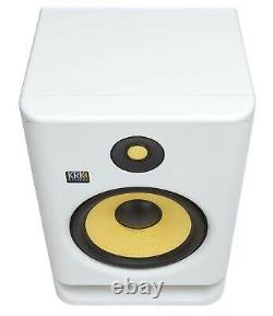 2 KRK RP8-G4 Rokit Powered 8 White Noise Studio Monitors+Stands+Cables+Earbuds