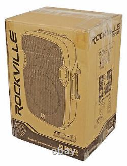 (2) Rockville BPA8 8 Professional Powered Active 300w DJ PA Speakers+Bluetooth