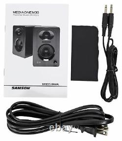 (2) SAMSON M30 3 Powered Studio/Computer/Podcast Monitors Speakers+8 Subwoofer