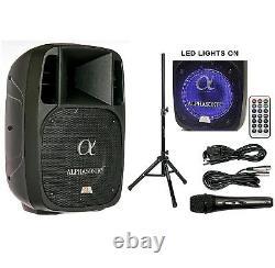 Alphasonik 10 Powered 1600w Pro Speaker Dj Bluetooth Usb Pa Led MIC Usb