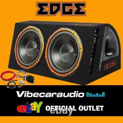 Edge Twin 12 Active Car Subwoofer Enclosure 1800W Max Power In Wiring Kit