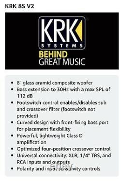 KRK 8S v2 8 100W Powered Studio Subwoofer with Class D Amplifier In MDF Enclosure