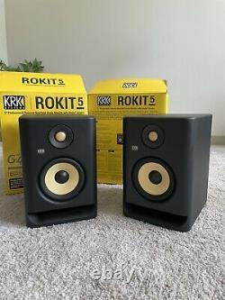 KRK Rokit 5 G4 Powered Studio Monitor Black, Pack of 2 with Power Chords
