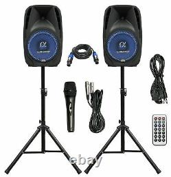 Pair Alphasonik All-in-one 10 Powered 1000w Pro Dj Amplified Loud Speakers