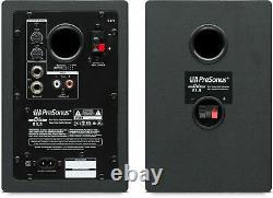 Pair Presonus Eris E3.5 3.5 Powered Studio Monitors Speakers+Wood Desk Stands