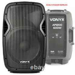 Pair of Active Powered 12 Mobile DJ PA Disco Speakers with Cables 1200 Watts