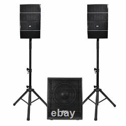 Powered Line Array Speaker System 12 Active Subwoofer and 8 Column Speakers