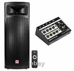 Rockville BPA225 Dual 15 Powered 1500w Pro DJ PA Speaker w Bluetooth+TWS+Mixer
