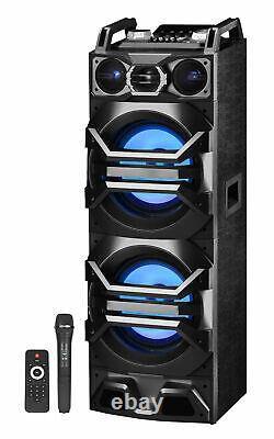 Technical Pro Dual 10 3000w Powered Bluetooth Speaker withUSB/SD/LED+Wireless Mic
