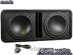 12 Double Active Amplified Double Bass Box Sub Voiture Construite En Ampères 3600w De Puissance Plus