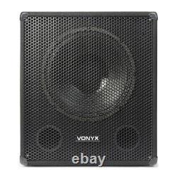 15 Bi-amplifié Active Powered Subwoofer Dj Pa Speaker Avec Bluetooth Usb 600w