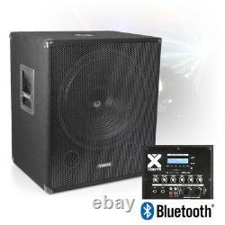 18 Bi-amplifié Active Powered Subwoofer Dj Pa Speaker Avec Bluetooth Usb 1000w