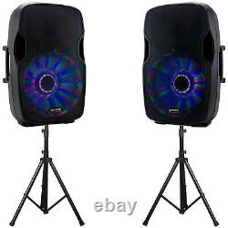 2 Gemini 15 Powered Pro Dj Bluetooth Pa Active Loud Speakers W Lights & Stands