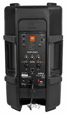 (2) Jbl Eon610 10 2000 Watt Powered Dj Pa Speakers+stands+cables+mic+headphones