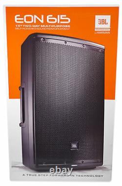 (2) Jbl Eon615 15 2000 Watt Haut-parleurs Dj Pa Powered Avec Bluetooth Control App