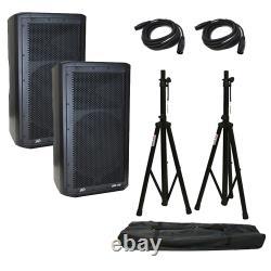 (2) Peavey DM 112 Dark Matter Pro Powered Audio 12 Avec Haut-parleur Supports Et Câbles