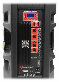 2 Rockville Bpa225 Dual 15 Haut-parleurs Dj Pa Powered W Bluetooth+mackie Mixer+mic