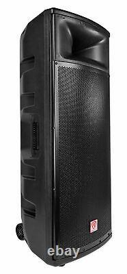 2 Rockville Bpa225 Dual 15 Powered 1500w Bluetooth Dj Pa Speakers+wireless Mics