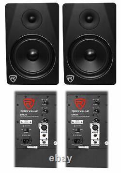 (2) Rockville Dpm8b Dual Powered 8 600 Watt Active Studio Monitor Haut-parleurs