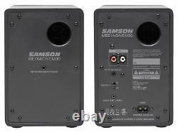 (2) Samson M30 3 Powered Studio/computer/podcast Monitors Haut-parleurs+8 Subwoofer