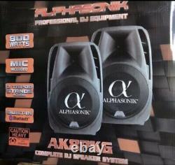 Alphasonik Tout-en-un 8 Powered 800w Pro Dj Amplifié Avec Haut-parleurs Bluetooth