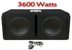 High Power 3600 Watt 12 Twin Amplifié Active Subwoofer Sub Amp Bass Box New