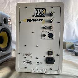 Paire De Krk Rokit 6 Rpg2 Propulsé 6 Haut-parleurs Studio Moniteurs Blanc As Is