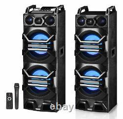 Paire Des Haut-parleurs Bluetooth Pro Dual 10 Powered 3000w Avecusb/sd/led+mic