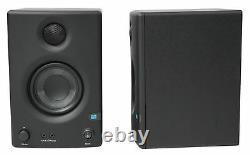 Paire Presonus Eris E3.5 3.5 Moniteurs Studio Powered Haut-parleurs + Supports De Bureau En Bois