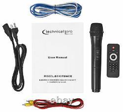 Technical Pro Dual 10 3000w Haut-parleur Bluetooth Alimenté Avec Microphone Usb/sd/led+wireless